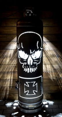 Firepit Chopper Bike Iron Cross and Skull