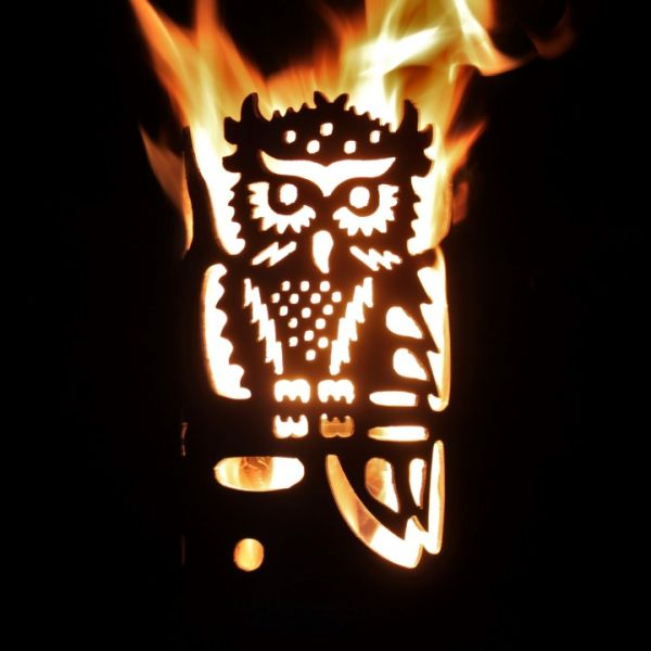 Garden Torch Steel Owl by Feuerflair Germany